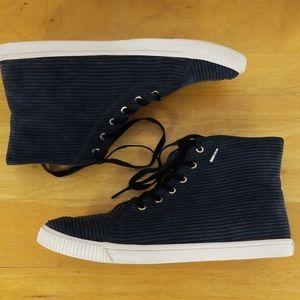 Toms 'Camarillo' High top Black Corduroy Shoes 7.5
